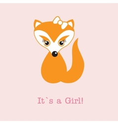 Baby girl fox arrival announcement birth card vector image vector image