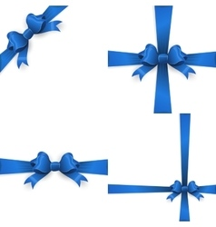 Blue ribbon with bow on a white background EPS 10 vector image