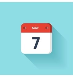May 7 isometric calendar icon with shadow vector