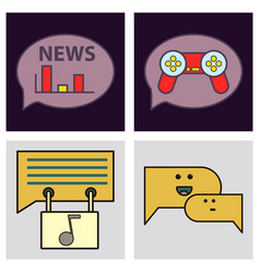social media icons in speech bubbles with group vector image vector image