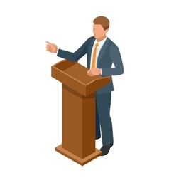 Business man giving a presentation in a conference vector image
