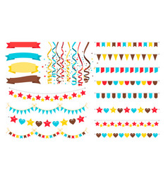 Multicolor garlands flags and pennant vector