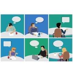 Set of People Sitting and Dreaming About Smth vector image