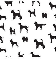 unusual seamless pattern with dog silhouettes set vector image
