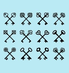 vintage black crossed keys set vector image vector image