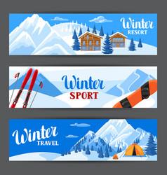 winter ski resort banners beautiful landscape vector image vector image