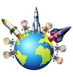Astronaunts and spaceship on earth vector image vector image