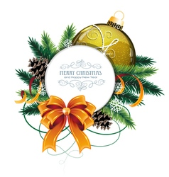 Christmas card with yellow bauble vector image vector image