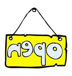 comic cartoon open shop sign vector image vector image