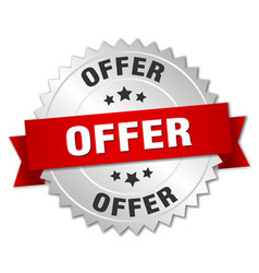 offer round isolated silver badge vector image vector image