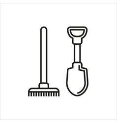 shovel and rake icon isolated on white background vector image vector image