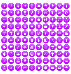 100 vegetables icons set purple vector
