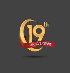 19 anniversary design logotype golden color vector