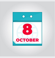 8 october flat daily calendar icon vector image