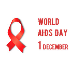 awareness red ribbon aids on white background hiv vector image