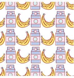 babanas fruits and milk box background vector image
