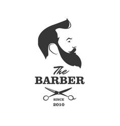 Barber handsome man with beard scissors vector