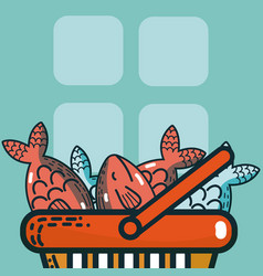 basket with seafood super market products vector image