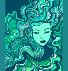 beautiful surreal face girl with blue turquoise vector image