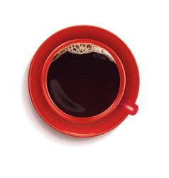 black coffee in red cup isolated on white 3d vector image