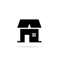 Black simple house icon with shadow vector