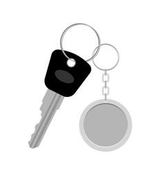 Blank metal keyring with key vector