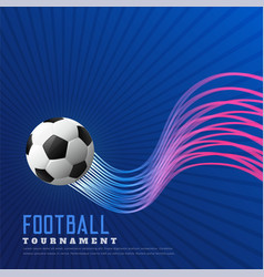 blue soccer game background with shiny wavy lines vector image