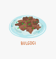 bulgogi grilled beef - traditional vector image
