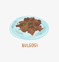 Bulgogi grilled beef - traditional vector