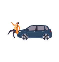 Car hit man auto accident concept vehicle bumped vector