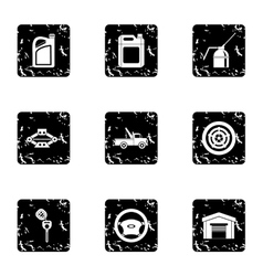 Car repairs icons set grunge style vector