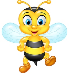 Cartoon funny bee posing isolated vector