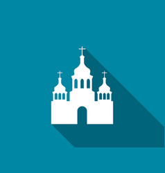 church flat icon with long shadow vector image