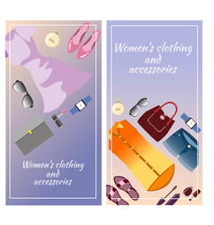 Colored accessories vertical banner with clothing vector