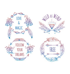 Colorful bohemian banners with lettering vector