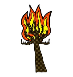 comic cartoon tree on fire vector image
