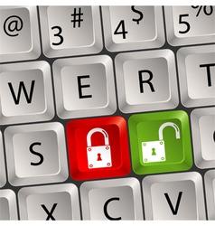 Computer keyboard lock key vector