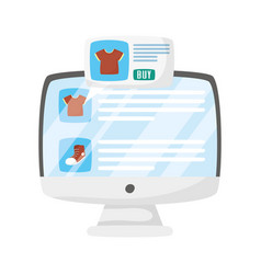 Computer with tshirts and shoe design vector