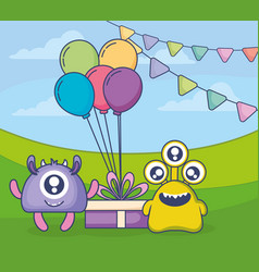 Crazy monsters with gift and balloons helium in vector