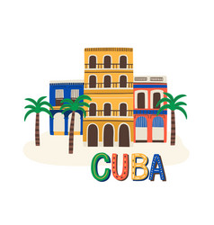 cuba colored sign and lettering cuban vector image
