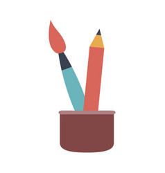 cup with writing utensils pen brush in flat design vector image