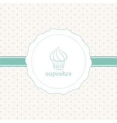cupcake label blue vector image