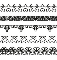Decorative art nouveau seamless borders vintage vector