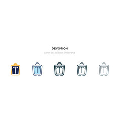 Devotion icon in different style two colored and vector