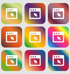dialog box icon Nine buttons with bright gradients vector image