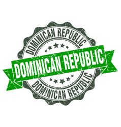 Dominican republic round ribbon seal vector