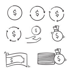 Doodle money line icons set handdrawn style vector