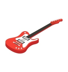Electric guitar icon in cartoon style isolated on vector