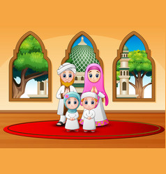 Family celebrate for eid mubarak at mosque vector