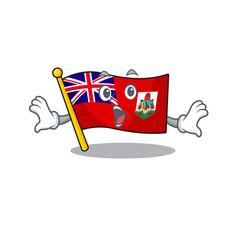 Flag bermuda isolated cartoon mascot surprised vector